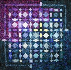 """= free pattern = Lost in the Storm, 60 x 60"""", a Cathedral Window storm-at-sea pattern by Shelley Swanland for Robert Kaufman Fabrics, featured at Quilt Inspiration Quilt Inspiration: Storm-at-Sea Quilts, free block diagrams and patterns"""