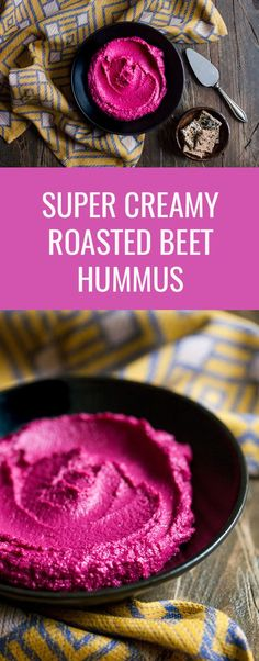 Creamy Roasted Beet Hummus. This hummus has a gorgeous, electric pink color and mildly sweet flavor. Delicious, healthy, and perfect for #vegan snacking | The Full Helping