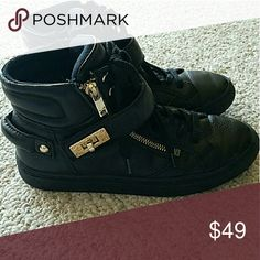 93b942c6ee33 Aldo size 7 black leather tennis shoes booties Gold and black. Gorgeous Aldo  sneakers.