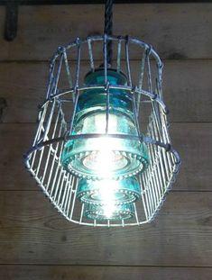Wire Basket Milk Crate Glass Insulator Pendant Light Fixture Primitive Rustic | eBay Farmhouse Lighting, Rustic Lighting, Vintage Lighting, Cool Lighting, Lighting Design, Lighting Ideas, Outdoor Lighting, Primitive Lighting, Insulator Lights