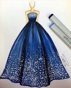 Fashion Sketch by Croquis de mode par d'art Dress Design Drawing, Dress Design Sketches, Fashion Design Sketchbook, Fashion Design Drawings, Dress Drawing, Croquis Drawing, Dress Designs, Drawing Art, Fashion Drawing Dresses
