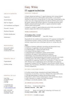 IT support technician CV sample, job description, CVs, curriculum vitae, customer service