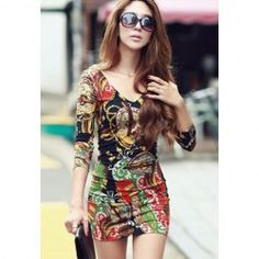 $7.78 Sexy V-Neck Abstract Print Long Sleeve Skinny Dress For Women