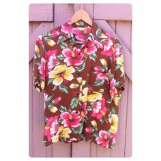 Vintage 1950s Aloha Hawaiian Shirt Brown