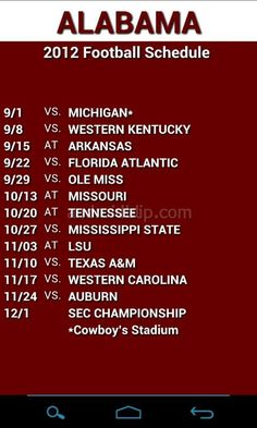 Screenshots: Alabama 2012 Football Schedule