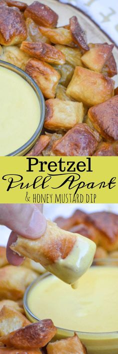 Buttery, salted, golden brown pretzel bites are easily pulled apart and dipped in a lightly spiced honey mustard for an awesome appetizer Appetizer Dips, Best Appetizers, Appetizer Recipes, Snack Recipes, Cooking Recipes, Drink Recipes, Yummy Recipes, Keto Recipes, I Love Food