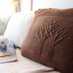 Knitted pillow with pattern 'Trees' by Nicky Epstein. Knitted Pouf, Knitted Cushions, Knitted Afghans, Afghan Crochet Patterns, Knitting Patterns, Crochet Box, Knit Crochet, Crochet Furniture, Knitted Cushion Covers