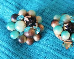Aqua Brown Cream Beads with Black Faux Crystal by resurrections, $7.95