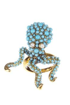 Antique Gold & Turquoise Dot Octopus Ring by Kenneth Jay Lane on @HauteLook