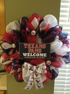 Houston Texans Football Deco Mesh Wreath by PurposefulHomeDecor, $89.99