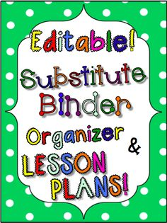Not only does this resource have straight-to-the-point pages to give your sub the information that she really needs, but it also contains Reading and Writing lesson plans WITH HANDOUTS that can be used all year long.