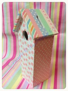 Shabby Chic Wooden Birdhouse Moneybox