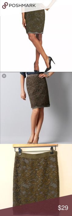 """Ann Taylor Loft Lace Overlay Pencil Skirt Gorgeous Ann Taylor Loft pencil skirt with an olive green lace overlaying a grey skirt. Grosgrain ribbon style elastic waistband, back zip with hook & eye closure and back slit. Measurements laying flat: 13 1/3"""" waist: 19"""" length. Brand new with tags. Original retail price was $89, it was purchased at $64.95 on sale. Ann Taylor Skirts Pencil"""