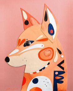 Pete Cromer - Dingo Collage, Acrylic on Arches Watercolour Paper Arches Watercolor Paper, Origami, Creative Textiles, Australian Animals, Animal Sketches, Arts Ed, Art Plastique, Elementary Art, Art Education