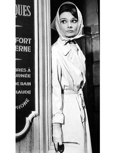 Celeb inspiration: Audrey Hepburn's divine in a head scarf and trench coat in Charade, 1963.