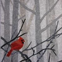 Red bird quilt - inspiration for tissue paper layering art (JS) Bird Quilt, Tree Quilt, Quilting Projects, Quilting Designs, Art Quilting, Quilting Classes, Quilt Art, Longarm Quilting, Vogel Quilt