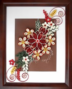 Ayani art: Quilling in Cream and Red