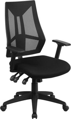 Flash Furniture HL-0017-GG High Back Black Mesh Swivel Task Chair with Triple Paddle Control