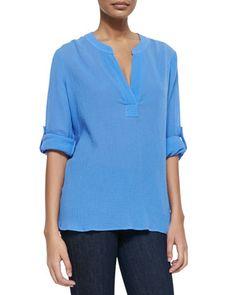 Esti Tissue-Weight Crinkled Blouse by Diane von Furstenberg at Neiman Marcus.