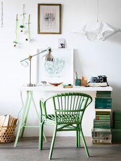 Crear una zona de trabajo en casa: decoración en blanco y verde