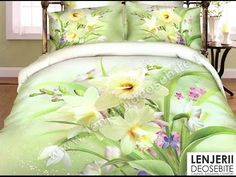 Daffodils Flowers Light Green Yellow Bedding Set Queen Size Cotton Print Home Textiles Quilt Cover Bed Sheet Pillowcase Yellow Bedding Sets, Queen Bedding Sets, Botanical Decor, Daffodil Flower, Flower Artwork, Flower Lights, Quilt Cover, Daffodils, Home Textile
