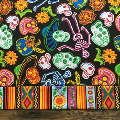 Day of the Dead Mexican Table Runner Sugar Skulls by muerto2go