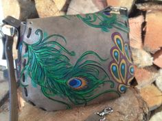 Hand Carved  Leather Peacock Purse by Konvert on Etsy, $125.00