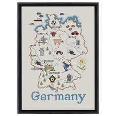 Germany Map Counted Cross Stitch Kit - Cross Stitch, Needlepoint, Embroidery Kits – Tools and Supplies