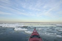 Kayaking through the ice in Gardiner's Bay, East Hampton, NY.  Photo by Brown Harris Stevens of the Hamptons.