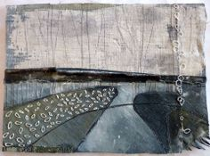 "Debbie Lyddon - ""Large Marshscape 5"" – Frayed Edge, Cloth, Stitch, Wax, approx. 28x20cms"