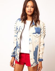 new york 2bc4a 9b533 Enlarge ASOS Studded Oversize Denim Jacket in Random Bleach Wash Bleach  Wash, Studded Jacket,