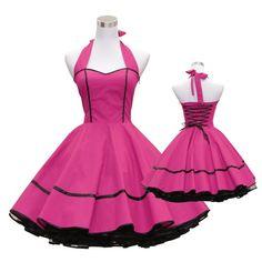 50's vintage dress full skirt black pink sweetheart design custom made Retro