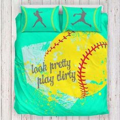 Softball Bedding Set Limited Edition Pillow inserts are not included Features a singlesided full color print on luxurious brushed polyester fabric Construc Softball Bags, Softball Crafts, Softball Quotes, Softball Shirts, Softball Mom, Softball Players, Fastpitch Softball, Softball Stuff, Girls Softball Room