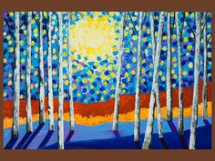 """36"""" Original Modern Abstract Heavy Texture Palette Knife Painting Landscape Trees Wall Decor """"Moon Night at Birch Grove"""" by QIQIGALLERY #EasyPin"""