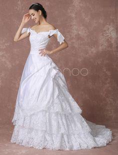 Satin Hochzeitskleid Spitze Applique Prinzessin Brautkleid Hofball Trian Off-the-Shoulder Kleid Brautkleid mit abnehmbarer Schleife
