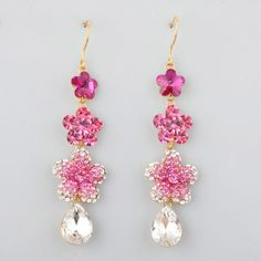 Hot Pink Zircon Flower Cocktail Ball Evening Fashion Jewelry Earrings SKU-10803383