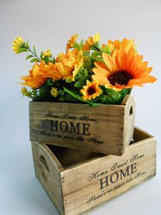 Set of 2 Wooden crates Kitchen Decor  by foryourrusticwedding