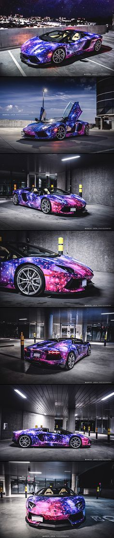 This Lamborghini Aventador has not been Photoshopped, it is just a galaxy-themed paint job.This Lamborghini Aventador has not been Photoshopped, it is just a galaxy-themed paint job. Lamborghini Aventador, Lamborghini Photos, Ferrari, Bugatti, Maserati, Supercars, Futuristic Cars, Sweet Cars, Amazing Cars