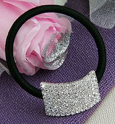 Rhinestone Ponytail Holder - Elastic Stretch Silver Plated Hair Tie | Headbands For Women