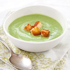 Creamy goodness minus the actual cream! This soup is light on the fat and calories and heavy on flavor. Broccoli-Cheese Soup Recipe via America's Test Kitchen