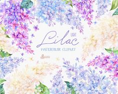 Lilac Light. Watercolor Clipart card floral by OctopusArtis (Olya and Pasha) on Etsy.