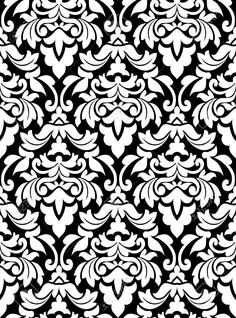 Damask seamless pattern for background design in white and black..