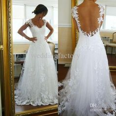 Wholesale 2013 Sexy Wedding Dresses A-line V-neck Backless Lace Appliques Cap Sleeves Sweep Train, Free shipping, $198.0/Piece   DHgate Mobile