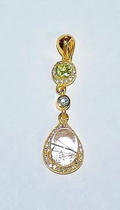 2081~Gold Plated 925 Sterling Silver Rutile Quartz, Peridot and CZ Pendant** #Pendant
