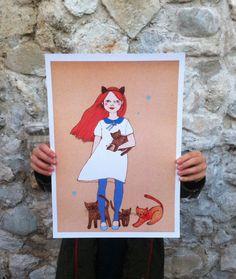SALE Large print of Cat girl II by IrenaSophia on Etsy