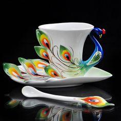Green Peacock Coffee/Tea+Set+1Cup/1Saucer/1Spoon #ebay