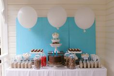 Smart use of fabric-covered canvas as wall backdrop for dessert bar. Homemade Chocolate, Hot Chocolate, Chocolate Party, Blue Birthday, Birthday Parties, 11th Birthday, Monkey Birthday, Happy Birthday, Kid Parties