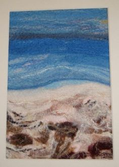 Picture made with wool on the needle felting machine