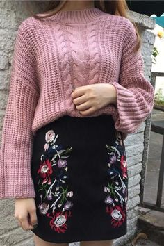 Retro Goth Gothic Embroidery Floral Black Mini Skirt Fashion Sexy