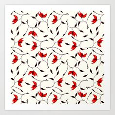 Strange Red #Flowers #Pattern Art Print by Boriana Giormova - $14.00 #floral
